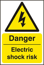 Danger Electric Shock - Self Adhesive Vinyl Safety Sign 200x300mm