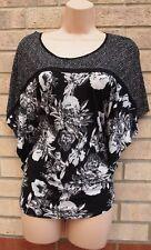 H&M BLACK WHITE FLORAL CAPE BAGGY SUMMER BLOUSE T SHIRT TOP VEST CAMI 8 10 S