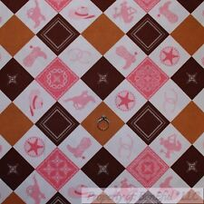 BonEful Fabric Cotton Quilt Cream Pink Cow*Girl Block Boot Hat Farm Horse SCRAP