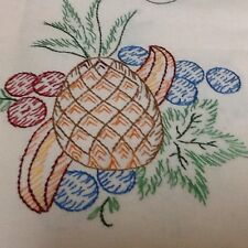 """VINTAGE -~Embroidered~Crocheted """" FRUIT""""  Tablecloth 32 X 32 *NICE*"""