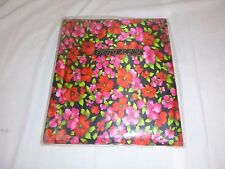 "Vtg 70's MOD Groovy Red Pink Floral Fabric Cover Photo Album K Mart 10"" x 12"""