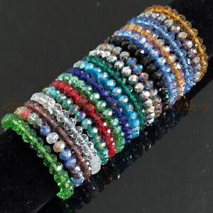 "5x8mm Faceted Multicolor Rhinestone Crystal Rondelle Beads Elastic Bracelet 7.5"""