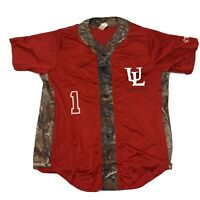 UL Louisiana Lafayette Ragin Cajun Baseball Jersey Mens Size Large Realtree Camo
