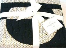 POTTERY BARN Navy White Circles Patchwork Standard Quilted Pillow Sham 26x20 New