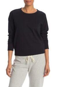 New James Perse Women's Crew Neck Knit Sweatshirt In Black Size 0 Retail $135