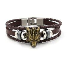 "Punk Mens Womens 8"" Braided Leather Wolf Head Bracelet Bangle Wristband #BR509"