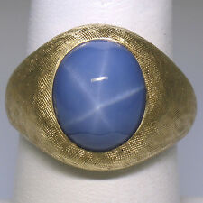 Mens 14K Yellow Gold 9.33ct Bezel Oval Star Sapphire Florentine Textured Ring S8