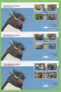 Tristan Da Cunha 2010 Conservation definitive set on three RSPB First Day Covers
