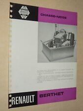 Prospectus Tracteur RENAULT Chasse Neige Berthet  D 22  Tractor Traktor Brochure