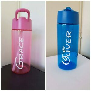 PERSONALISED CHILDREN'S KIDS WATER BOTTLE GIFT ANY NAME WORD BACK TO SCHOOL