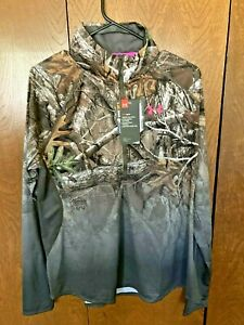 Under Armour Women's Performance 1/2 Zip Fitted Pullover Realtree Camo Sz Small