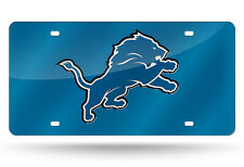 Detroit Lions Blue Mirrored Laser Cut License Plate Laser Tag