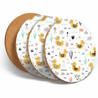4 Set - Yellow Ducks Cartoon Pattern Coasters - Kitchen Drink Coaster Gift #2048
