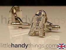 Star Wars R2-D2 Robot De Metal plata Para hombre Gemelos Regalo De Metal Plateado/