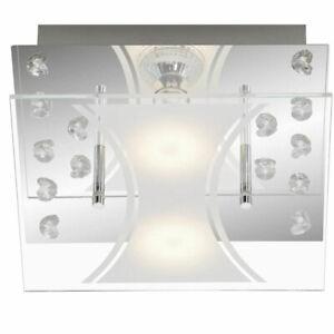 Briloner LED Deckenleuchte Kristalloptik GU10 3000K 2x5W 2x400lm, chrom EEK:A