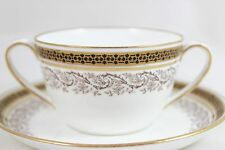 2 SETS WEDGWOOD ENGLAND BONE CHINA GOLD WHITE BLACK Y6083 BOUILLON CUPS SAUCERS