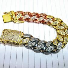 "Mens Heavy Tri Color Curb link Bracelet 8"" length 18ct Rose 24ct Gold Plated Cz"