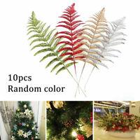 10 Dekoblätter mit Glitzer Deko Weihnachten Blatt Blätter Weihnachtsbaum Deko