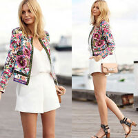 Women Cardigan Coat Floral Printed Casual Short Jacket Long Sleeve Outwear Coats
