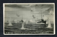c1916 WW1 Card: View of a British Naval Ships in action off the Belgium Coast