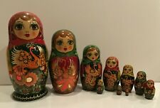 "OOAK Vintage Russian Matryoshka 10 Nest Doll""Heat Bird""Crafts Hand Painted 1993"