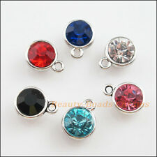 6 New Tibetan Silver Charms Mixed Crystal Round Pendants 10x13mm