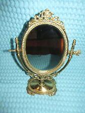 Vtg/Antique Brass Vanity Stand Dresser Mirror ~ ORNATE