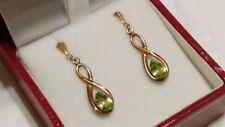 Vintage Victorian 9ct Gold Olive Green PERIDOT Gemstone Drop/Dangle Earrings***