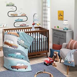 Lambs & Ivy Baby Car Tunes 4-Piece Nursery Crib Bedding Set  Blue NEW