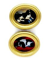 Dolls House 2 Dog Paintings Pictures in Oval Gold Frames Miniature Accessory
