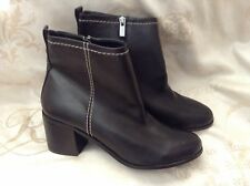 New🌹NEXT🌹Size 6.5 Ladies Leather Look Black Ankle Boots Block Heel Shoes 40EU
