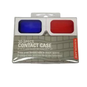 Kikkerland 3D Specs Glasses Novelty Contact Case Red Blue New Leak Proof
