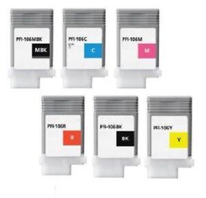 6 x Tinte Set für Canon iPF-6300S iPF-6400SE / PFI-106 je 130ml INK Cartridges