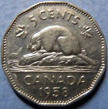 *1958  Vintage CANADA  5 CENTS  COIN, Very Fine Circulated QUEEN ELIZABETH COIN