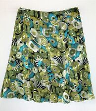 SABA PINK LABEL Brand Olive Green Blue Gored Skirt Size 3 (AUS 14) BNWT #TP60