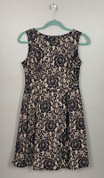 F&F Uk12 Black Nude Lace Effect Skater Dress Side Zip Party Occasion