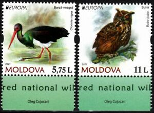 MOLDOVA 2021-07 EUROPA: Endangered National Wildlife. Birds: Owl Stork, MNH