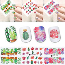 4 Sheets Nail Art Water Decals Cactus Succulent Plant Transfer Stickers UR SUGAR