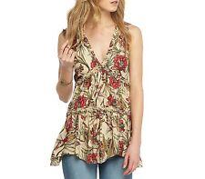 NWT Free People Floral Tunic Medium Top Shirt Natural Birds Size M OB571958 Boho