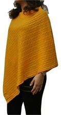 100 Pure Cashmere Cable Knit Poncho in 10 Classic Colours Handcrafted in Nepal Golden Apricot
