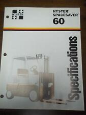 Hyster Lift Truck Brochure~S60E Spacesaver/Boxcar~Specifi cations~Catalog Insert