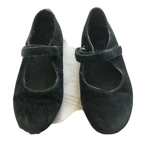 Lands' End Mary Jane Shoes Size 1 Classic Black Suede