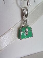 Italy Designer Giorgio Martello 925 Sterling Silver Green Enamel Handbag Charm
