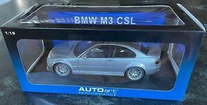 AutoArt 1:18 BMW M3 CSL Silver Steel Grey Metallic Diecast Model Car #70661 NEW