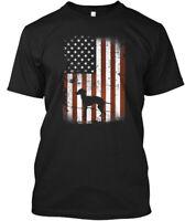 Italian Greyhound American Flag Dog 4th Hanes Tagless Tee T-Shirt