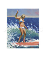 SURFING GIRL SURF ART PRINT - Backside Pink by Ron Croci 16x14 Going Left Poster