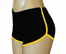 Black Retro Running Shorts with Gold Trim Small