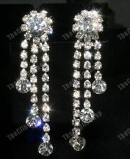 COMFY CLIP ON rhinestone CRYSTAL CHANDELIER EARRINGS