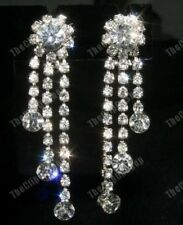 Comfy Clip on Rhinestone Crystal Chandelier Earrings