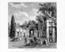 Stampa antica ISOLA BELLA Giardini con Rotonda Lago Maggiore 1880 Old print